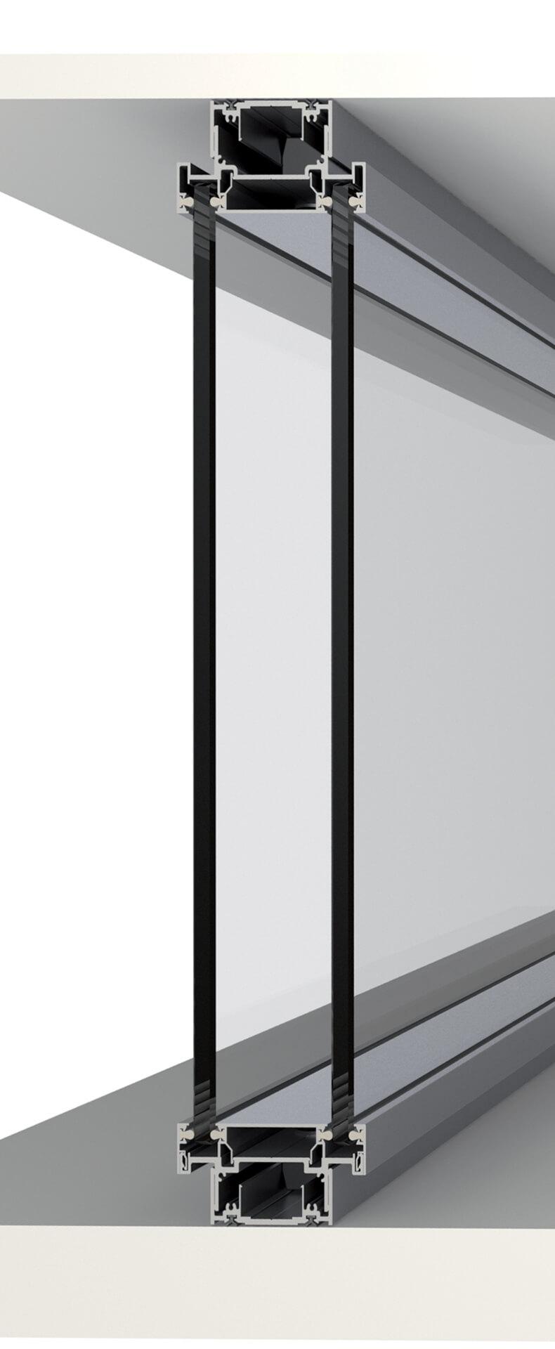 pareti divisorie in legno e vetro - doppio vetro