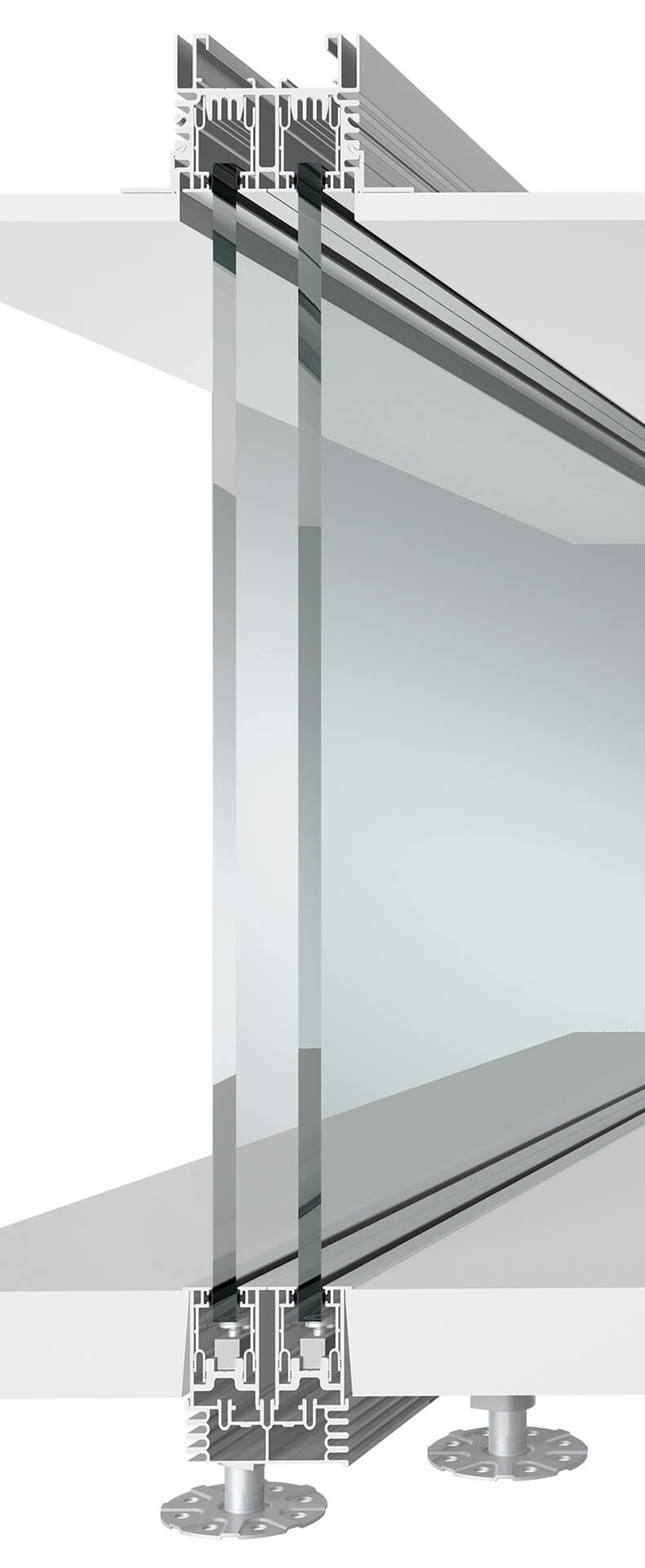 Sezione pareti mobili per l'ufficio in vetro