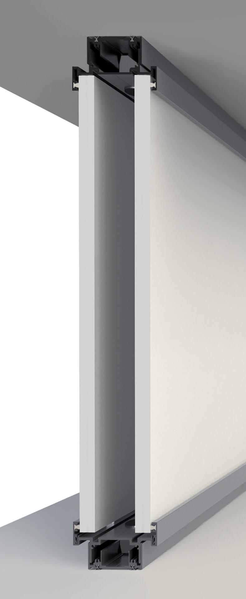 sezione pareti divisorie in legno e vetro