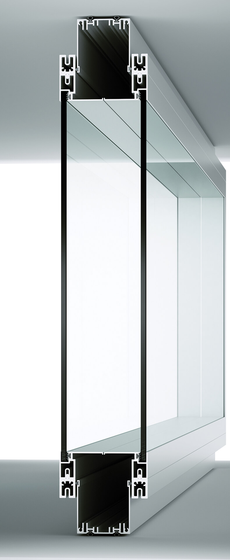 sezione pareti divisorie attrezzate a doppio vetro