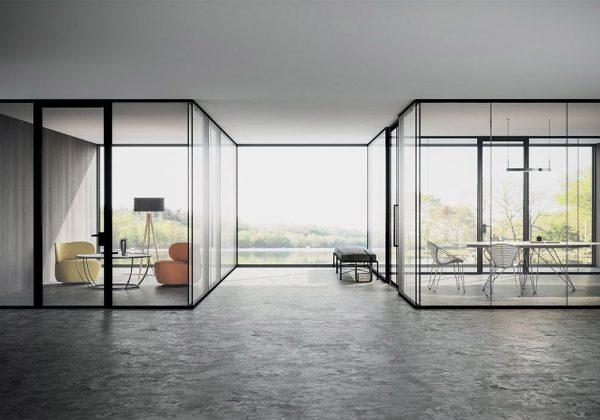 pareti divisorie in vetro uffici ShiSeido
